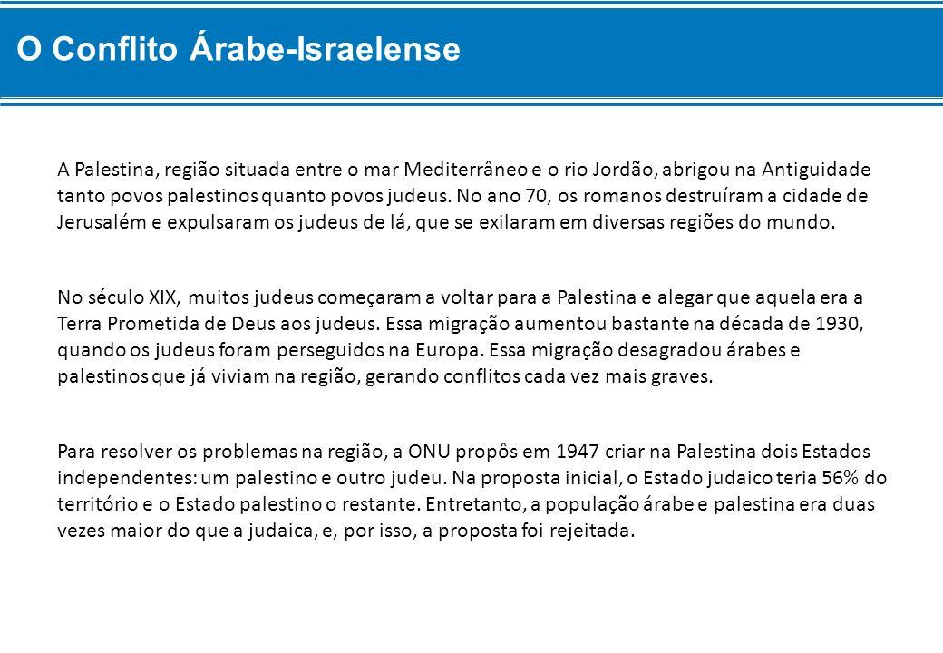 Para resolver os problemas na região, a ONU propôs em 1947 criar na Palestina dois Estados independentes: um palestino e outro judeu. Na proposta inic