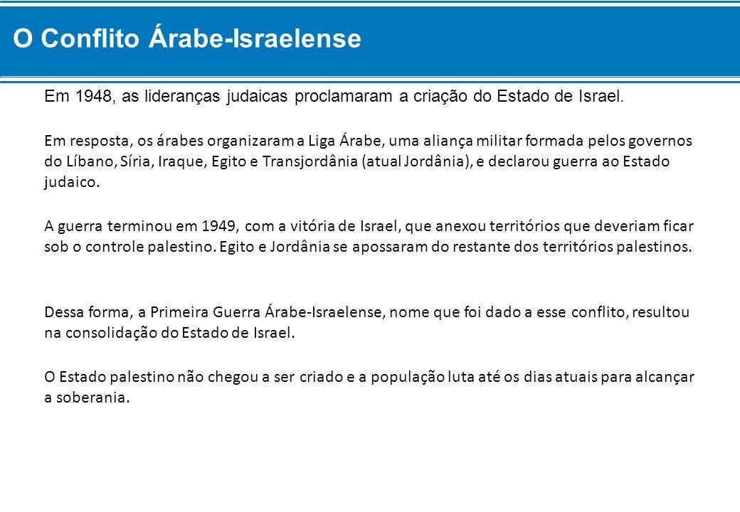 Em 1948, as lideranças judaicas proclamaram a criação do Estado de Israel. Em resposta, os árabes organizaram a Liga Árabe, uma aliança militar formad
