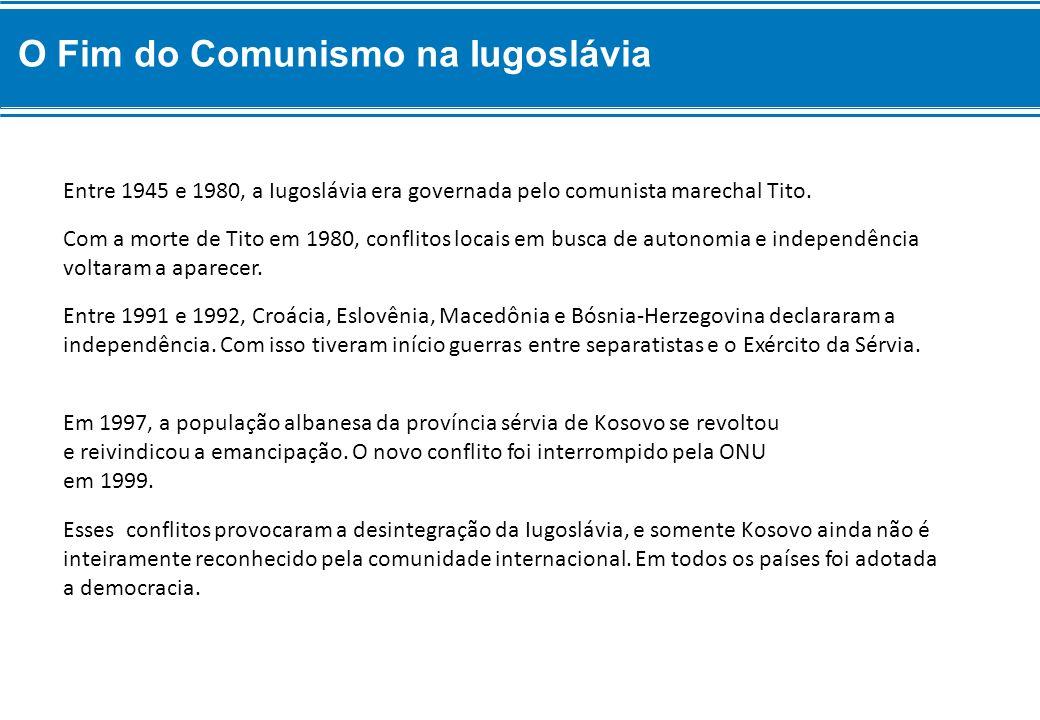 Esses conflitos provocaram a desintegração da Iugoslávia, e somente Kosovo ainda não é inteiramente reconhecido pela comunidade internacional. Em todo