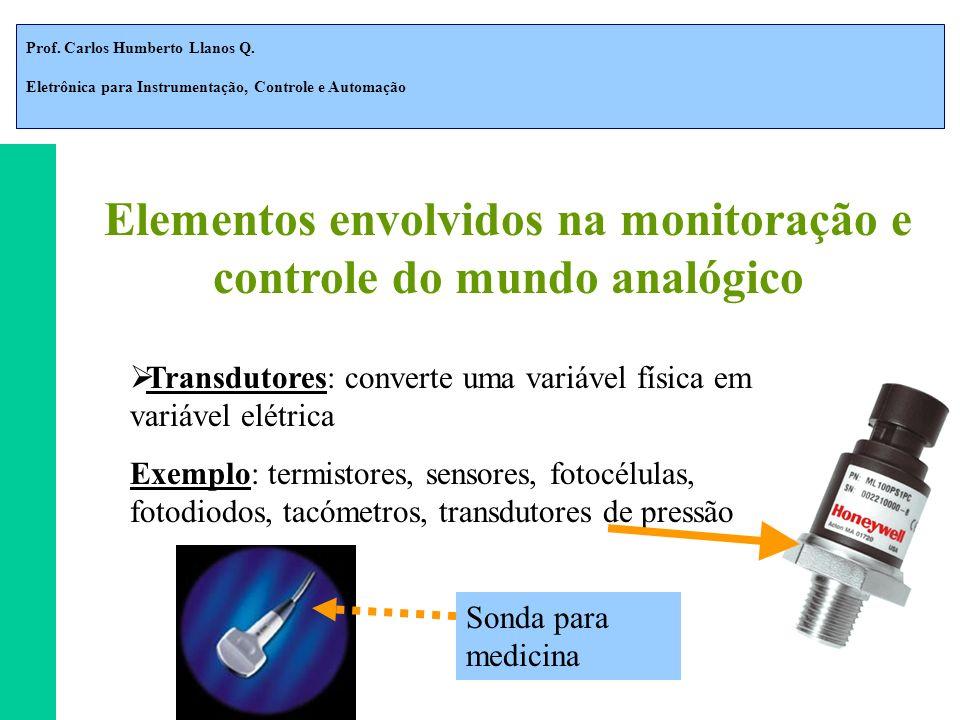 Prof. Carlos Humberto Llanos Q. Eletrônica para Instrumentação, Controle e Automação Elementos envolvidos na monitoração e controle do mundo analógico