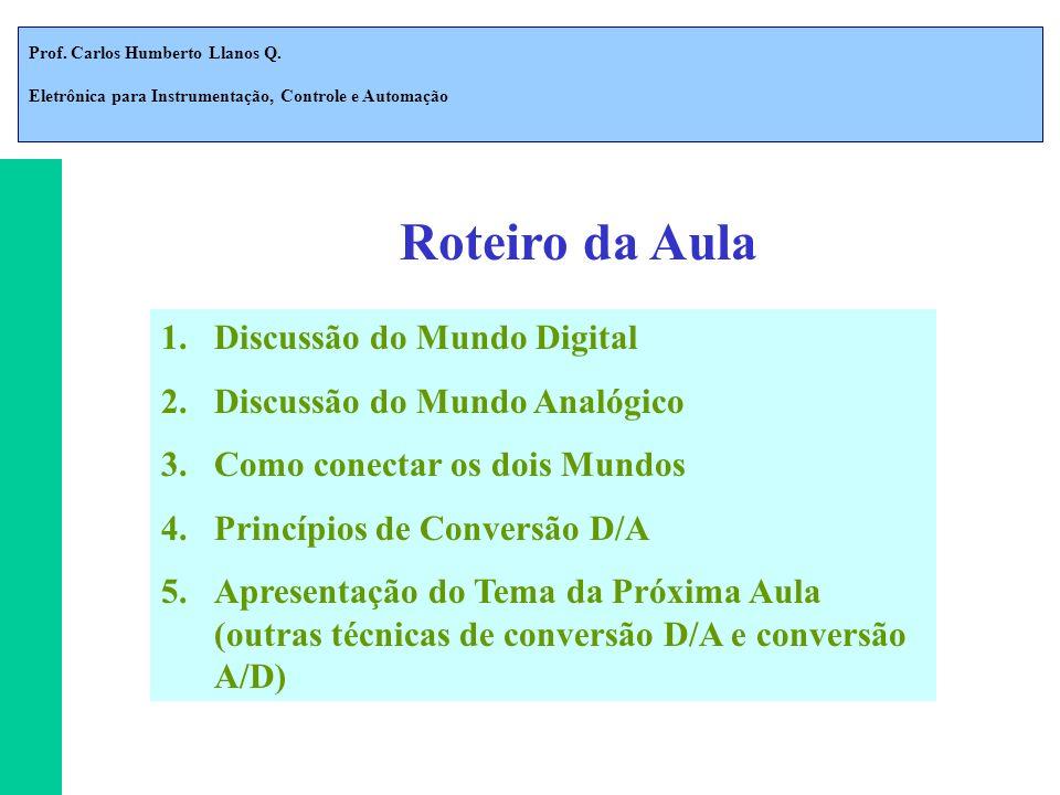 Prof. Carlos Humberto Llanos Q. Eletrônica para Instrumentação, Controle e Automação Roteiro da Aula 1.Discussão do Mundo Digital 2.Discussão do Mundo