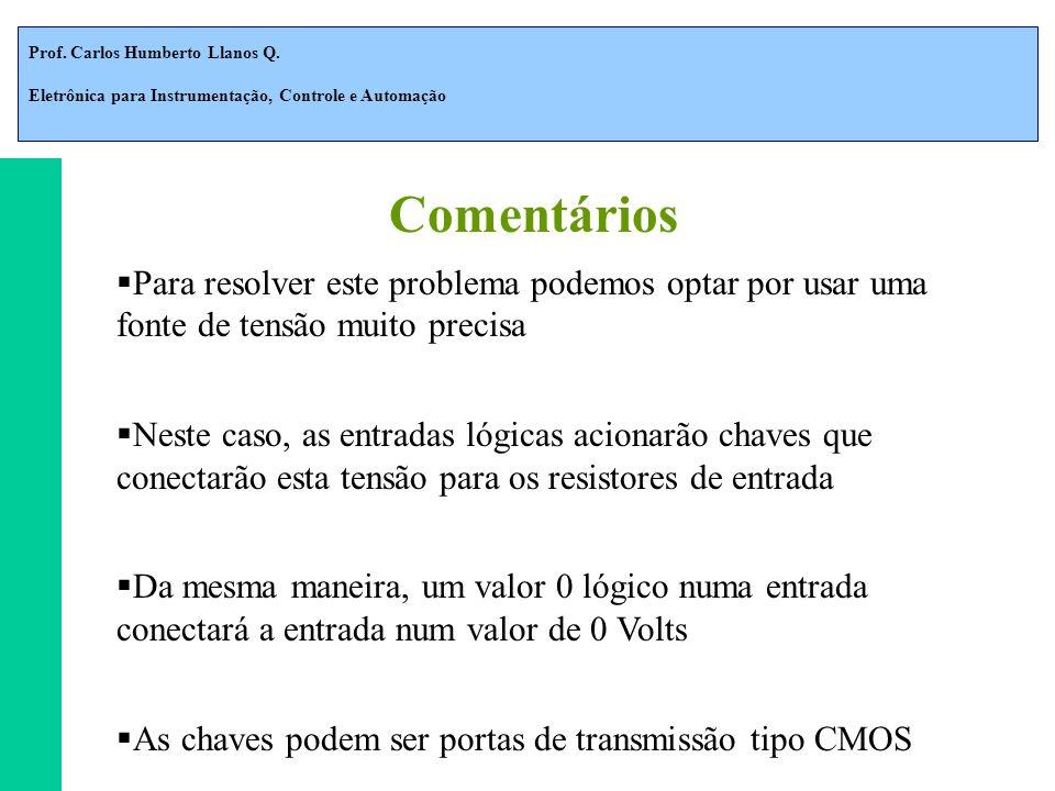 Prof. Carlos Humberto Llanos Q. Eletrônica para Instrumentação, Controle e Automação Para resolver este problema podemos optar por usar uma fonte de t