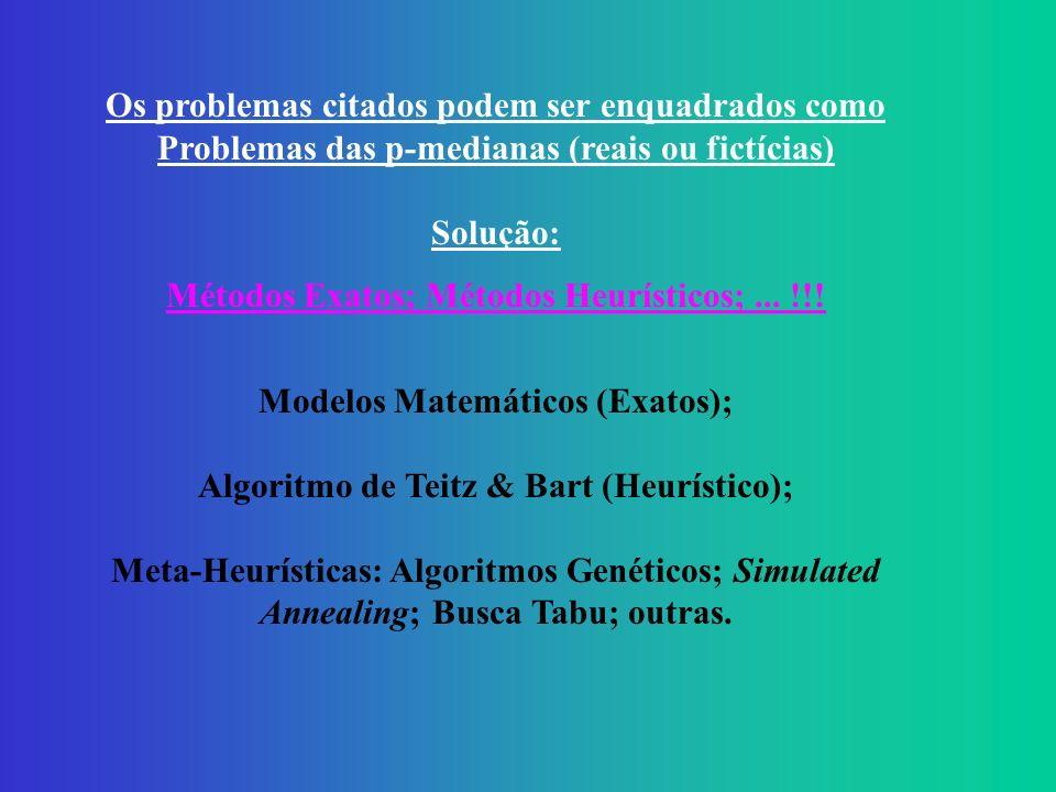 Os problemas citados podem ser enquadrados como Problemas das p-medianas (reais ou fictícias) Solução: Métodos Exatos; Métodos Heurísticos;...
