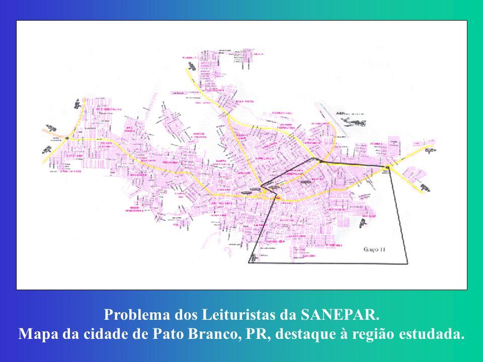 Problema dos Leituristas da SANEPAR. Mapa da cidade de Pato Branco, PR, destaque à região estudada.