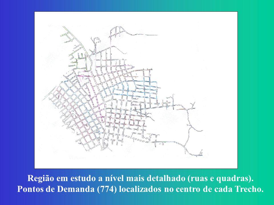 Região em estudo a nível mais detalhado (ruas e quadras).