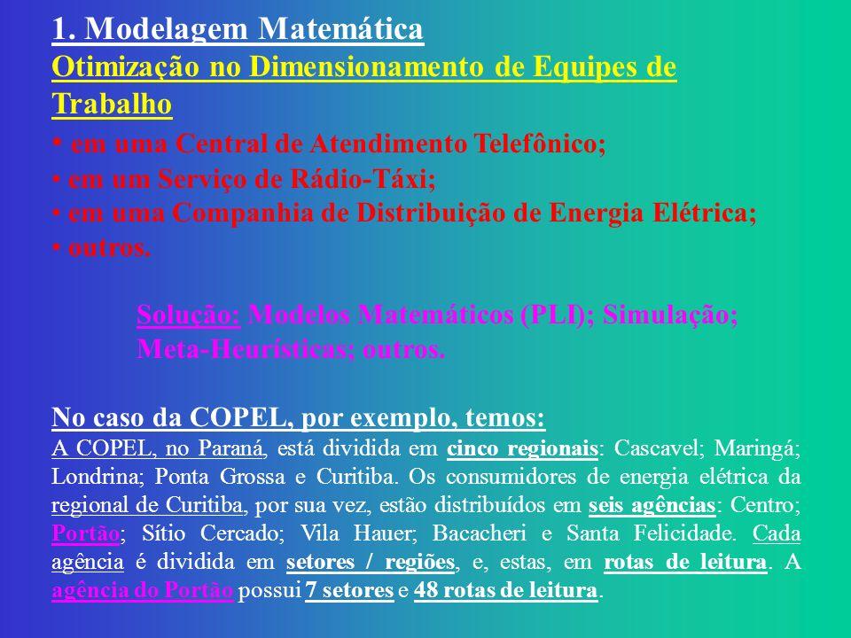 1. Modelagem Matemática Otimização no Dimensionamento de Equipes de Trabalho em uma Central de Atendimento Telefônico; em um Serviço de Rádio-Táxi; em