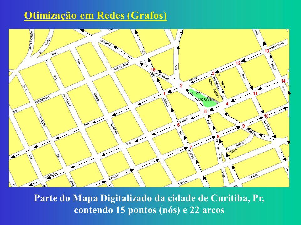 Parte do Mapa Digitalizado da cidade de Curitiba, Pr, contendo 15 pontos (nós) e 22 arcos Otimização em Redes (Grafos)