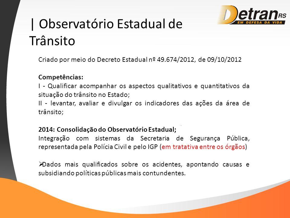 | Observatório Estadual de Trânsito Criado por meio do Decreto Estadual nº 49.674/2012, de 09/10/2012 Competências: I - Qualificar acompanhar os aspec