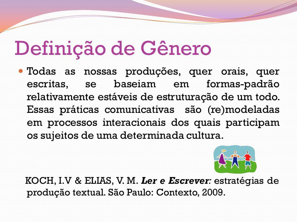 Definição de Gênero Todas as nossas produções, quer orais, quer escritas, se baseiam em formas-padrão relativamente estáveis de estruturação de um tod
