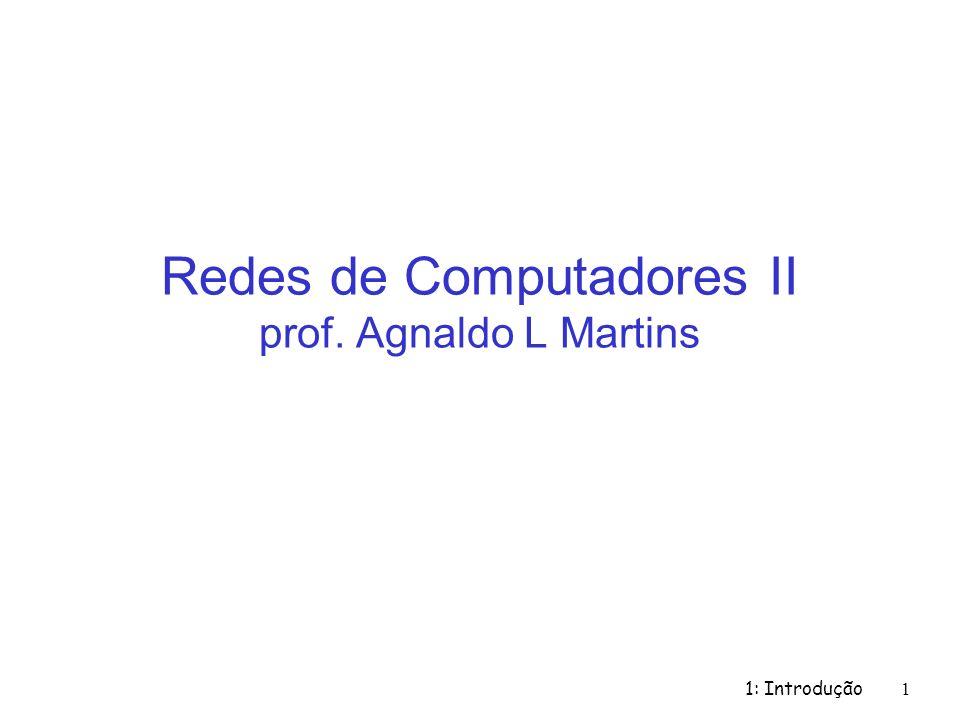 1: Introdução 1 Redes de Computadores II prof. Agnaldo L Martins