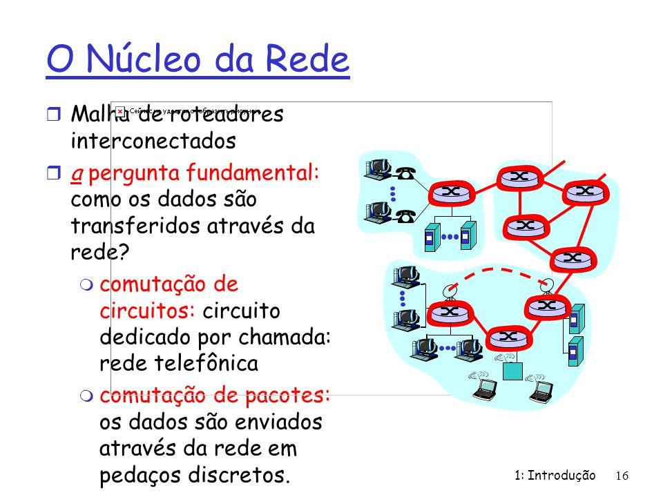 1: Introdução 16 O Núcleo da Rede r Malha de roteadores interconectados r a pergunta fundamental: como os dados são transferidos através da rede.