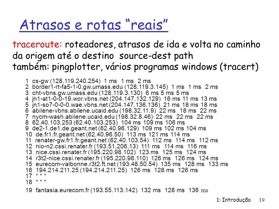 1: Introdução 19 Atrasos e rotas reais 1 cs-gw (128.119.240.254) 1 ms 1 ms 2 ms 2 border1-rt-fa5-1-0.gw.umass.edu (128.119.3.145) 1 ms 1 ms 2 ms 3 cht-vbns.gw.umass.edu (128.119.3.130) 6 ms 5 ms 5 ms 4 jn1-at1-0-0-19.wor.vbns.net (204.147.132.129) 16 ms 11 ms 13 ms 5 jn1-so7-0-0-0.wae.vbns.net (204.147.136.136) 21 ms 18 ms 18 ms 6 abilene-vbns.abilene.ucaid.edu (198.32.11.9) 22 ms 18 ms 22 ms 7 nycm-wash.abilene.ucaid.edu (198.32.8.46) 22 ms 22 ms 22 ms 8 62.40.103.253 (62.40.103.253) 104 ms 109 ms 106 ms 9 de2-1.de1.de.geant.net (62.40.96.129) 109 ms 102 ms 104 ms 10 de.fr1.fr.geant.net (62.40.96.50) 113 ms 121 ms 114 ms 11 renater-gw.fr1.fr.geant.net (62.40.103.54) 112 ms 114 ms 112 ms 12 nio-n2.cssi.renater.fr (193.51.206.13) 111 ms 114 ms 116 ms 13 nice.cssi.renater.fr (195.220.98.102) 123 ms 125 ms 124 ms 14 r3t2-nice.cssi.renater.fr (195.220.98.110) 126 ms 126 ms 124 ms 15 eurecom-valbonne.r3t2.ft.net (193.48.50.54) 135 ms 128 ms 133 ms 16 194.214.211.25 (194.214.211.25) 126 ms 128 ms 126 ms 17 * * * 18 * * * 19 fantasia.eurecom.fr (193.55.113.142) 132 ms 128 ms 136 ms traceroute: roteadores, atrasos de ida e volta no caminho da origem até o destino source-dest path também: pingplotter, vários programas windows (tracert)