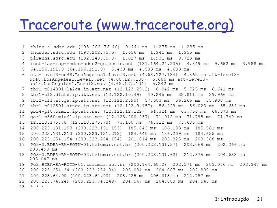 1: Introdução 21 Traceroute (www.traceroute.org) 1 thing-i.sdsc.edu (198.202.76.40) 0.441 ms 1.275 ms 1.295 ms 2 thunder.sdsc.edu (198.202.75.5) 1.656 ms 1.941 ms 1.955 ms 3 piranha.sdsc.edu (132.249.30.8) 1.027 ms 1.931 ms 9.723 ms 4 inet-lax-isp--sdsc-sdsc2-ge.cenic.net (137.164.24.205) 4.849 ms 9.652 ms 3.988 ms 5 64.156.191.9 (64.156.191.9) 5.430 ms 4.533 ms 4.683 ms 6 att-level3-oc48.LosAngeles1.Level3.net (4.68.127.134) 4.862 ms att-level3- oc48.LosAngeles1.Level3.net (4.68.127.138) 5.680 ms att-level3- oc48.LosAngeles1.Level3.net (4.68.127.134) 5.242 ms 7 tbr1-p014001.la2ca.ip.att.net (12.123.29.2) 6.042 ms 5.723 ms 6.641 ms 8 tbr1-cl2.dlstx.ip.att.net (12.122.10.49) 40.245 ms 38.811 ms 39.966 ms 9 tbr2-cl1.attga.ip.att.net (12.122.2.90) 57.603 ms 56.266 ms 55.908 ms 10 tbr1-p012501.attga.ip.att.net (12.122.9.157) 56.429 ms 56.023 ms 55.684 ms 11 gbr4-p10.ormfl.ip.att.net (12.122.12.122) 64.324 ms 63.756 ms 64.373 ms 12 gar1-p360.miufl.ip.att.net (12.123.200.237) 71.912 ms 71.795 ms 71.749 ms 13 12.118.175.78 (12.118.175.78) 73.160 ms 74.312 ms 73.686 ms 14 200.223.131.193 (200.223.131.193) 185.843 ms 186.183 ms 185.561 ms 15 200.223.131.213 (200.223.131.213) 184.640 ms 186.209 ms 184.655 ms 16 200.223.254.154 (200.223.254.154) 201.814 ms 203.325 ms 203.368 ms 17 PO2-0.BDEA-BA-ROTN-01.telemar.net.br (200.223.131.57) 203.069 ms 202.266 ms 203.498 ms 18 PO5-0.BDEA-BA-ROTD-02.telemar.net.br (200.223.131.62) 212.575 ms 204.653 ms 203.047 ms 19 Po2.BDEA-BA-ROTD-01.telemar.net.br (200.164.60.2) 202.571 ms 203.086 ms 203.347 ms 20 200.223.254.34 (200.223.254.34) 203.084 ms 204.007 ms 202.899 ms 21 200.223.64.90 (200.223.64.90) 205.225 ms 206.013 ms 212.787 ms 22 200.223.74.249 (200.223.74.249) 204.567 ms 204.883 ms 204.545 ms 23 * * *