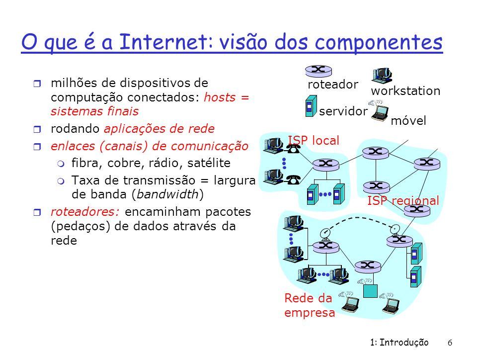 1: Introdução 6 O que é a Internet: visão dos componentes r milhões de dispositivos de computação conectados: hosts = sistemas finais r rodando aplicações de rede r enlaces (canais) de comunicação m fibra, cobre, rádio, satélite m Taxa de transmissão = largura de banda (bandwidth) r roteadores: encaminham pacotes (pedaços) de dados através da rede ISP local Rede da empresa ISP regional roteador workstation servidor móvel