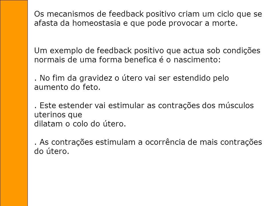 Os mecanismos de feedback positivo criam um ciclo que se afasta da homeostasia e que pode provocar a morte. Um exemplo de feedback positivo que actua