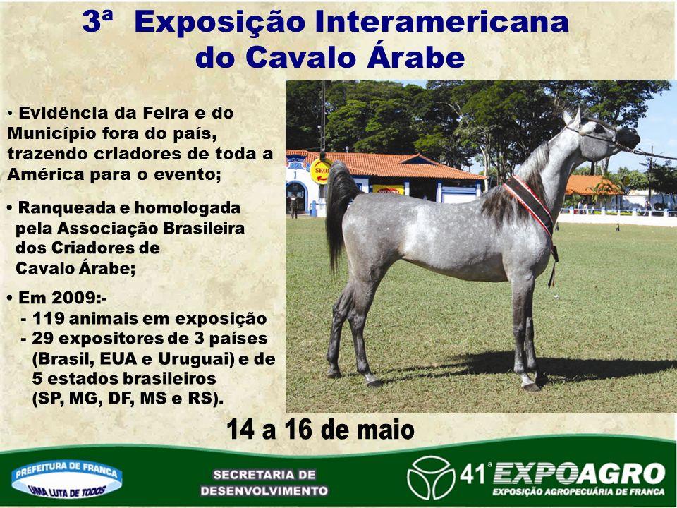 3ª Exposição Interamericana do Cavalo Árabe Evidência da Feira e do Município fora do país, trazendo criadores de toda a América para o evento;