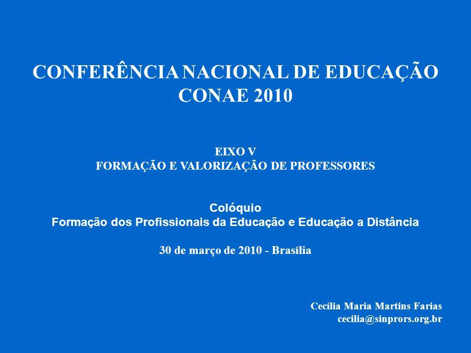 CONFERÊNCIA NACIONAL DE EDUCAÇÃO CONAE 2010 EIXO V FORMAÇÃO E VALORIZAÇÃO DE PROFESSORES Colóquio Formação dos Profissionais da Educação e Educação a