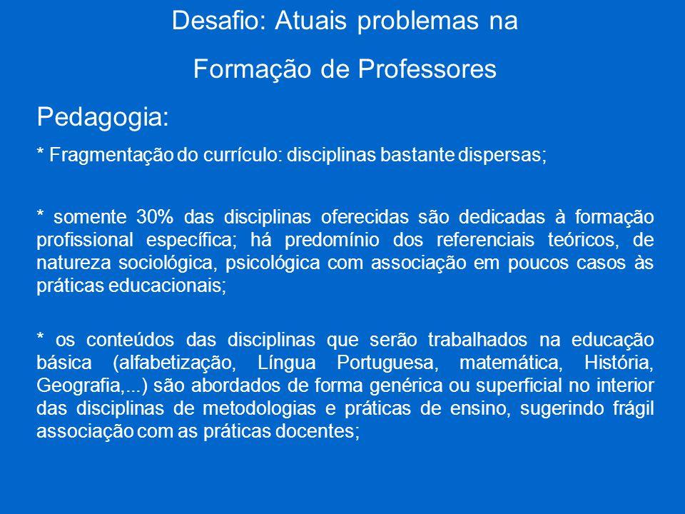 Desafio: Atuais problemas na Formação de Professores Pedagogia: * Fragmentação do currículo: disciplinas bastante dispersas; * somente 30% das discipl