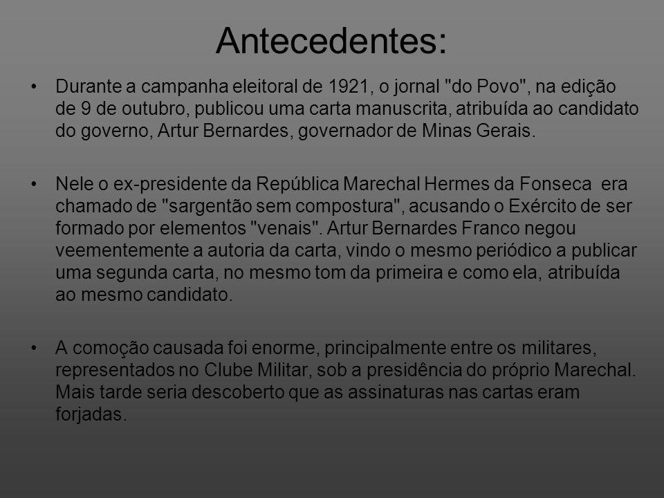 Antecedentes: Durante a campanha eleitoral de 1921, o jornal