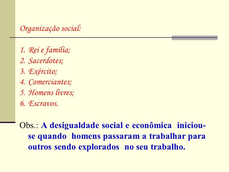 Organização social: 1.Rei e família; 2.Sacerdotes; 3.Exército; 4.Comerciantes; 5.Homens livres; 6.Escravos. Obs.: A desigualdade social e econômica in