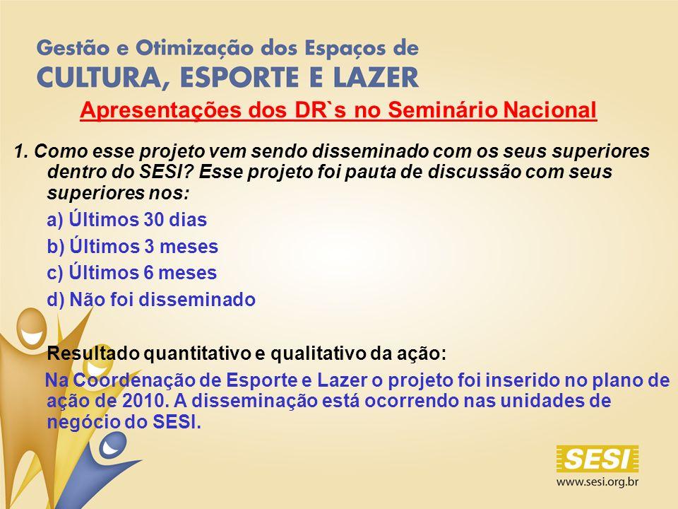 Apresentações dos DR`s no Seminário Nacional 1.