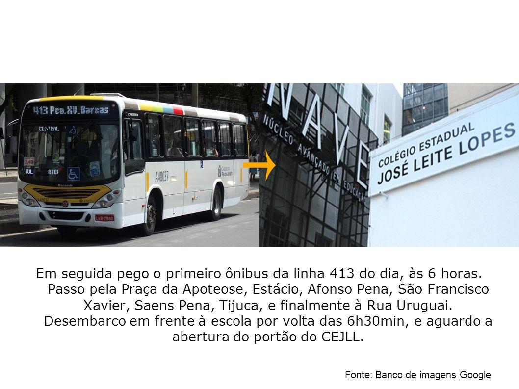 Em seguida pego o primeiro ônibus da linha 413 do dia, às 6 horas. Passo pela Praça da Apoteose, Estácio, Afonso Pena, São Francisco Xavier, Saens Pen