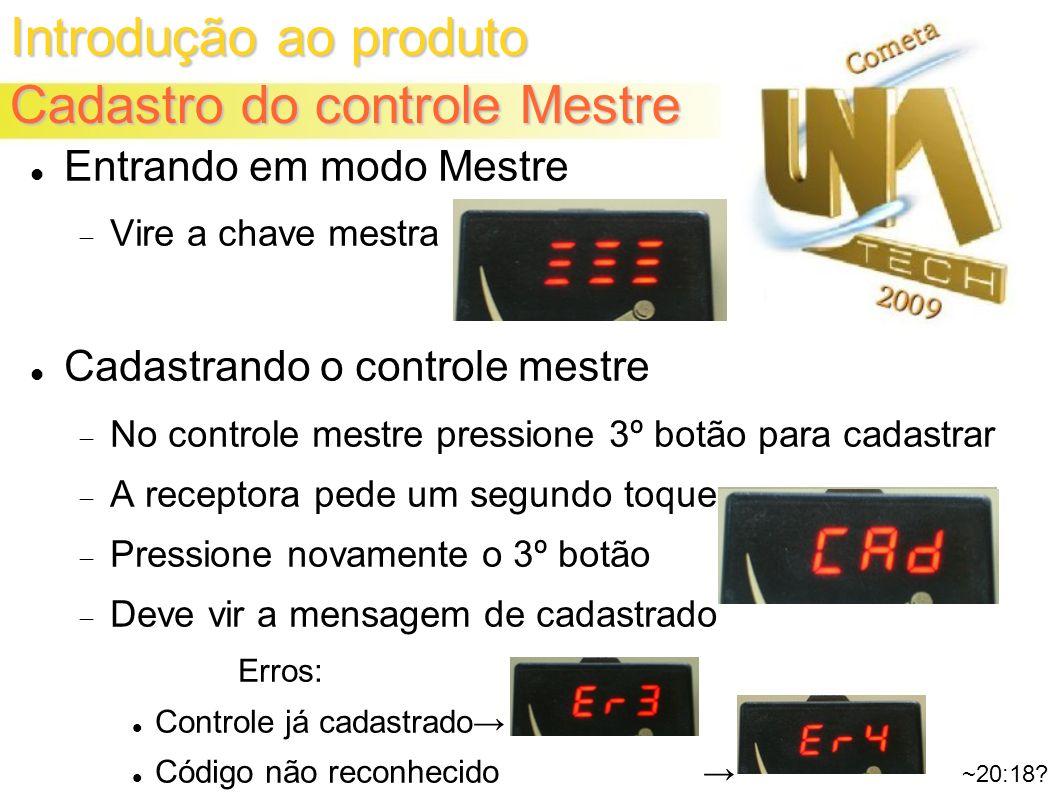 Introdução ao produto Cadastro do controle Mestre ~20:18.