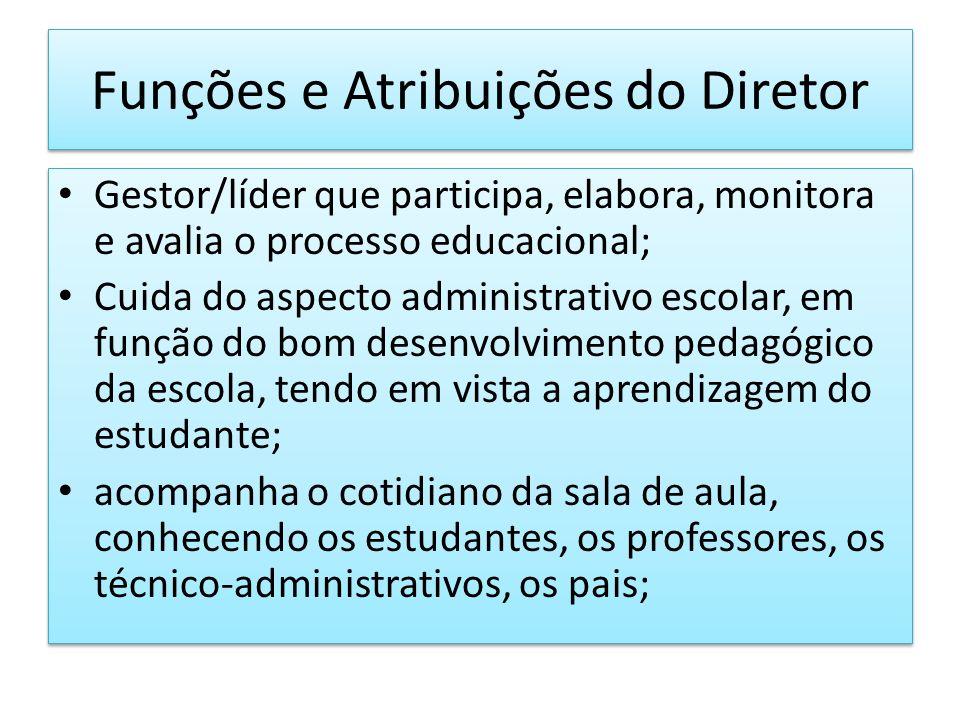 Funções e Atribuições do Diretor Gestor/líder que participa, elabora, monitora e avalia o processo educacional; Cuida do aspecto administrativo escola