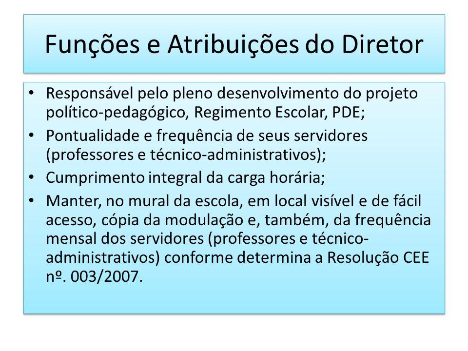 Funções e Atribuições do Diretor Responsável pelo pleno desenvolvimento do projeto político-pedagógico, Regimento Escolar, PDE; Pontualidade e frequên