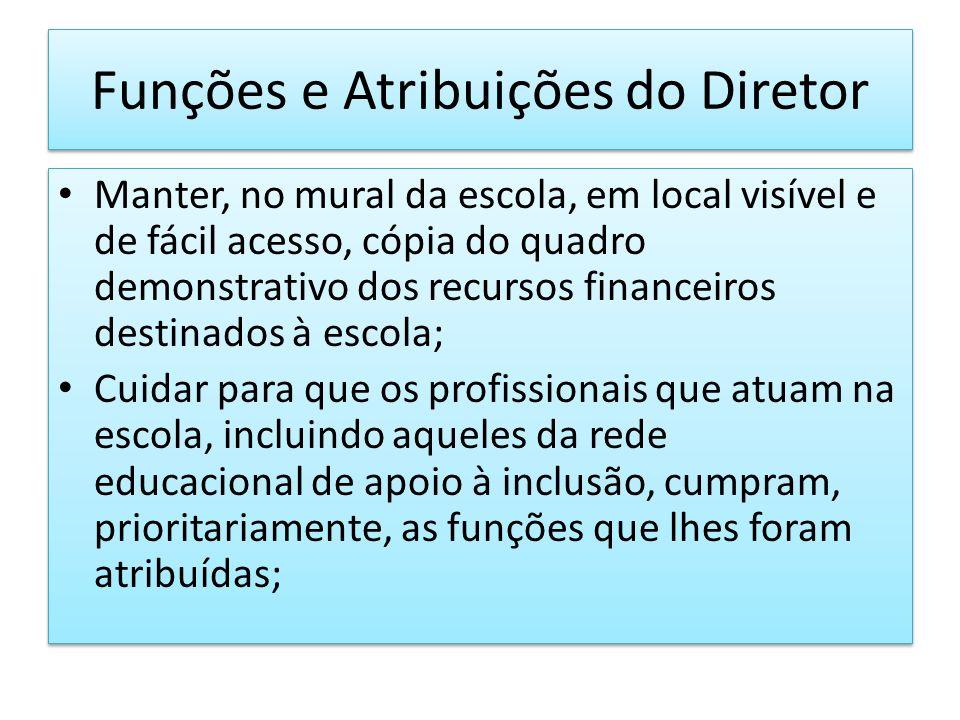 Funções e Atribuições do Diretor Manter, no mural da escola, em local visível e de fácil acesso, cópia do quadro demonstrativo dos recursos financeiro