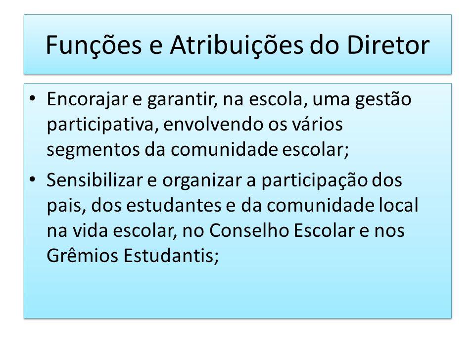 Funções e Atribuições do Diretor Encorajar e garantir, na escola, uma gestão participativa, envolvendo os vários segmentos da comunidade escolar; Sens