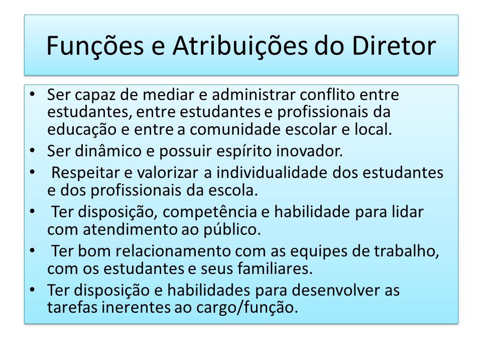 Funções e Atribuições do Diretor Ser capaz de mediar e administrar conflito entre estudantes, entre estudantes e profissionais da educação e entre a c