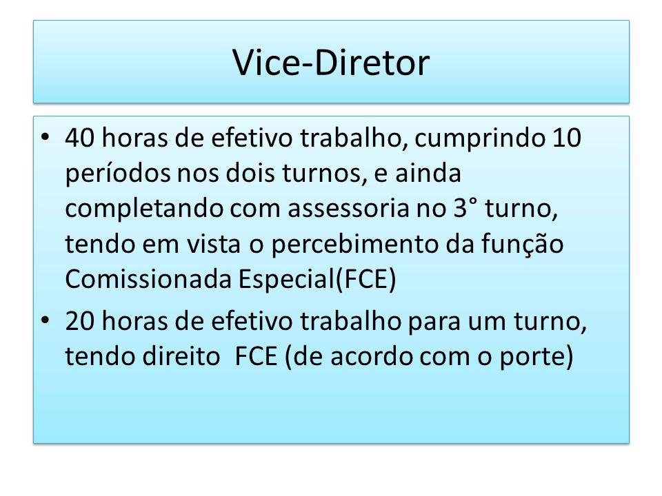 Vice-Diretor 40 horas de efetivo trabalho, cumprindo 10 períodos nos dois turnos, e ainda completando com assessoria no 3° turno, tendo em vista o per