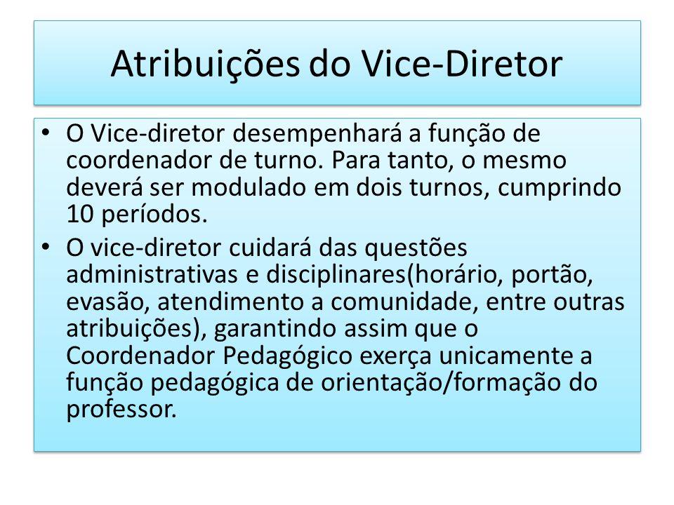 Atribuições do Vice-Diretor O Vice-diretor desempenhará a função de coordenador de turno. Para tanto, o mesmo deverá ser modulado em dois turnos, cump