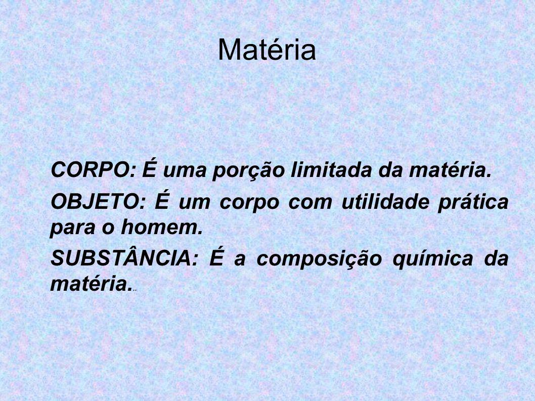 Matéria CORPO: É uma porção limitada da matéria. OBJETO: É um corpo com utilidade prática para o homem. SUBSTÂNCIA: É a composição química da matéria.