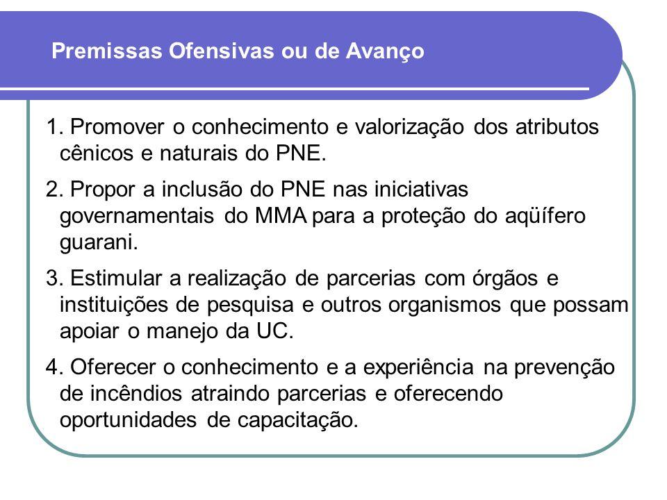1. Promover o conhecimento e valorização dos atributos cênicos e naturais do PNE. 2. Propor a inclusão do PNE nas iniciativas governamentais do MMA pa