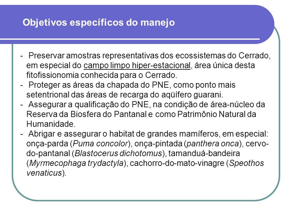  Preservar amostras representativas dos ecossistemas do Cerrado, em especial do campo limpo hiper-estacional, área única desta fitofissionomia conhecida para o Cerrado.