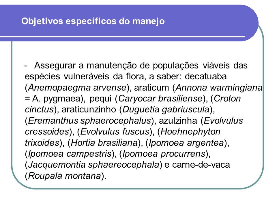 - Assegurar a manutenção de populações viáveis das espécies vulneráveis da flora, a saber: decatuaba (Anemopaegma arvense), araticum (Annona warmingiana = A.
