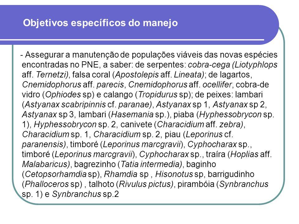 - Assegurar a manutenção de populações viáveis das novas espécies encontradas no PNE, a saber: de serpentes: cobra-cega (Liotyphlops aff.