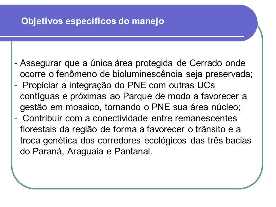 Assegurar que a única área protegida de Cerrado onde ocorre o fenômeno de bioluminescência seja preservada;  Propiciar a integração do PNE com outra