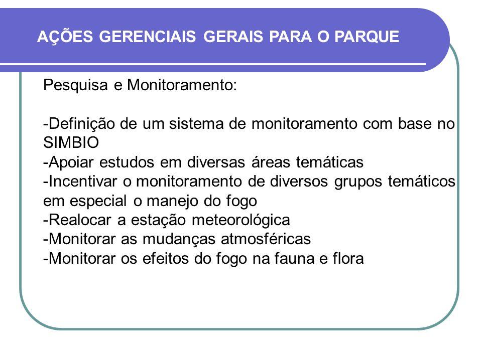 Pesquisa e Monitoramento: Definição de um sistema de monitoramento com base no SIMBIO Apoiar estudos em diversas áreas temáticas Incentivar o monit