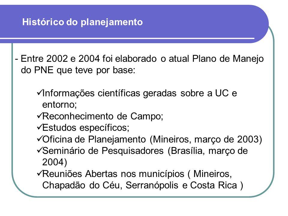 - Entre 2002 e 2004 foi elaborado o atual Plano de Manejo do PNE que teve por base: Informações científicas geradas sobre a UC e entorno; Reconhecimen