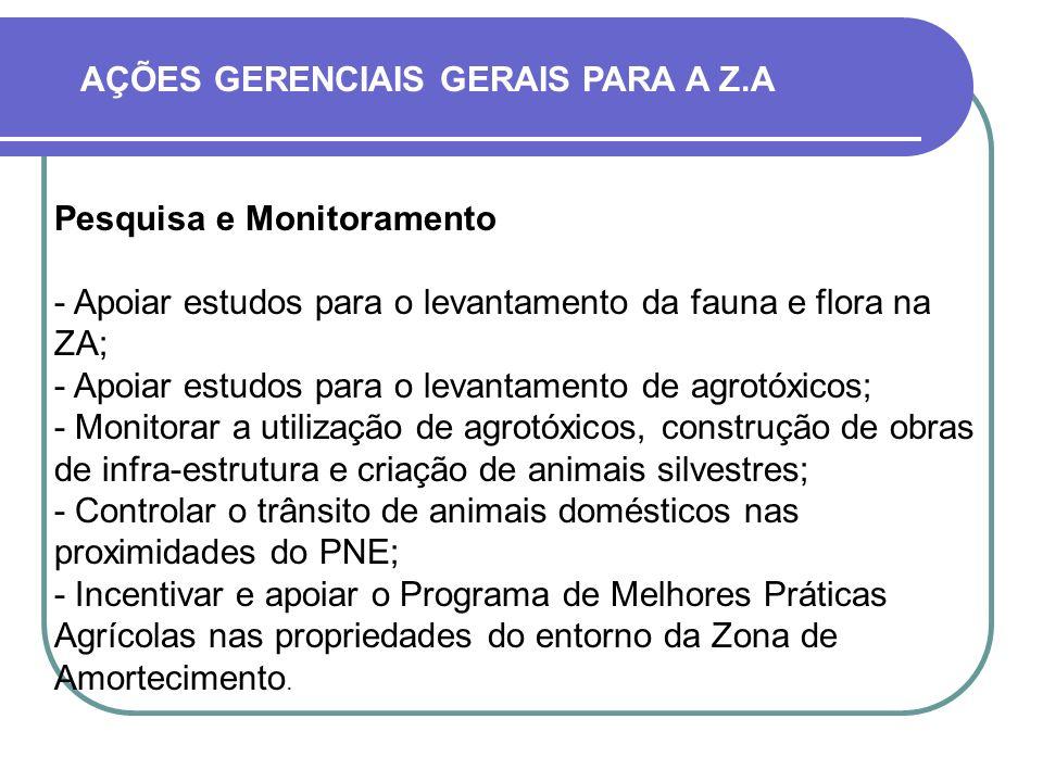 Pesquisa e Monitoramento - Apoiar estudos para o levantamento da fauna e flora na ZA; - Apoiar estudos para o levantamento de agrotóxicos; - Monitorar a utilização de agrotóxicos, construção de obras de infra-estrutura e criação de animais silvestres; - Controlar o trânsito de animais domésticos nas proximidades do PNE; - Incentivar e apoiar o Programa de Melhores Práticas Agrícolas nas propriedades do entorno da Zona de Amortecimento.