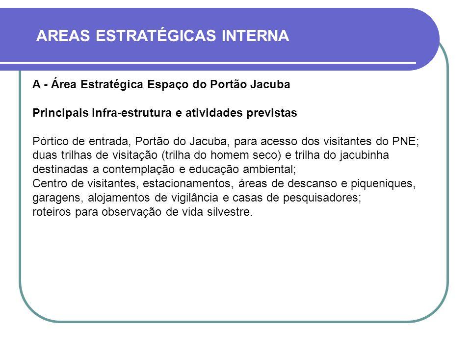 AREAS ESTRATÉGICAS INTERNA A - Área Estratégica Espaço do Portão Jacuba Principais infra-estrutura e atividades previstas Pórtico de entrada, Portão d