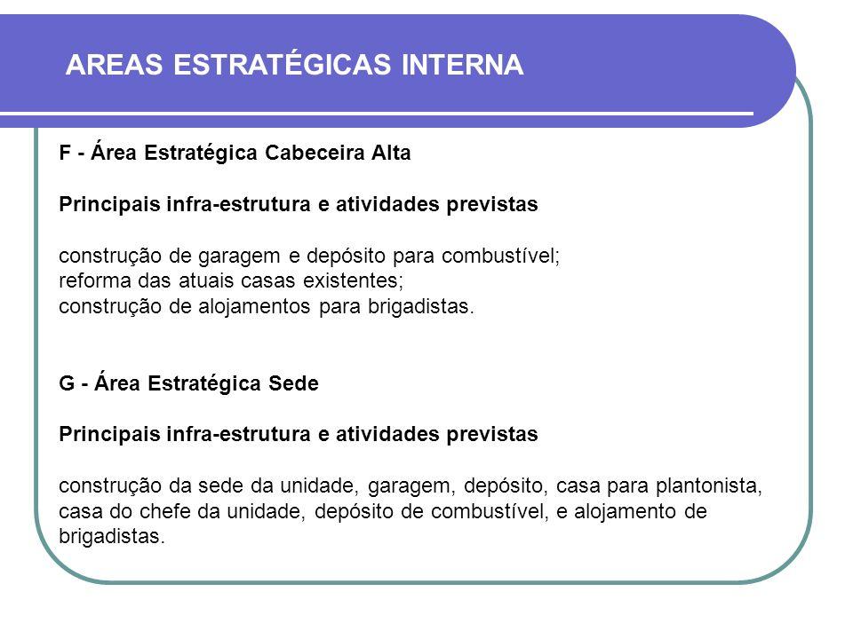 AREAS ESTRATÉGICAS INTERNA F - Área Estratégica Cabeceira Alta Principais infra-estrutura e atividades previstas construção de garagem e depósito para