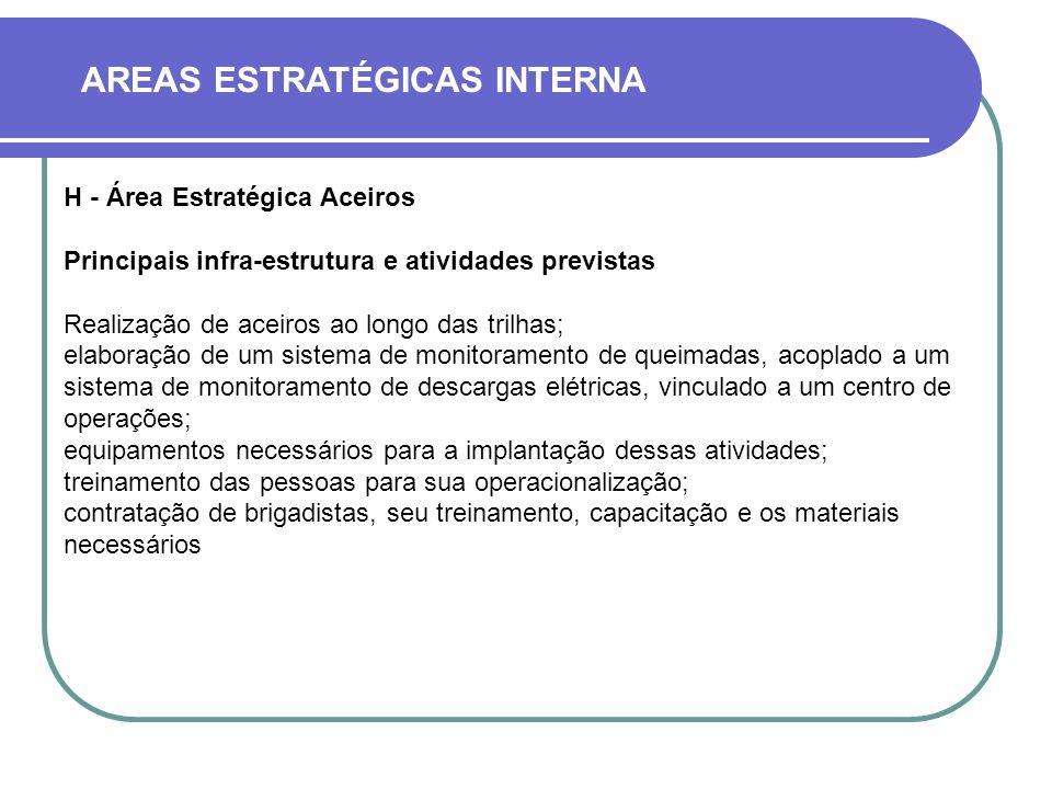 AREAS ESTRATÉGICAS INTERNA H - Área Estratégica Aceiros Principais infra-estrutura e atividades previstas Realização de aceiros ao longo das trilhas;
