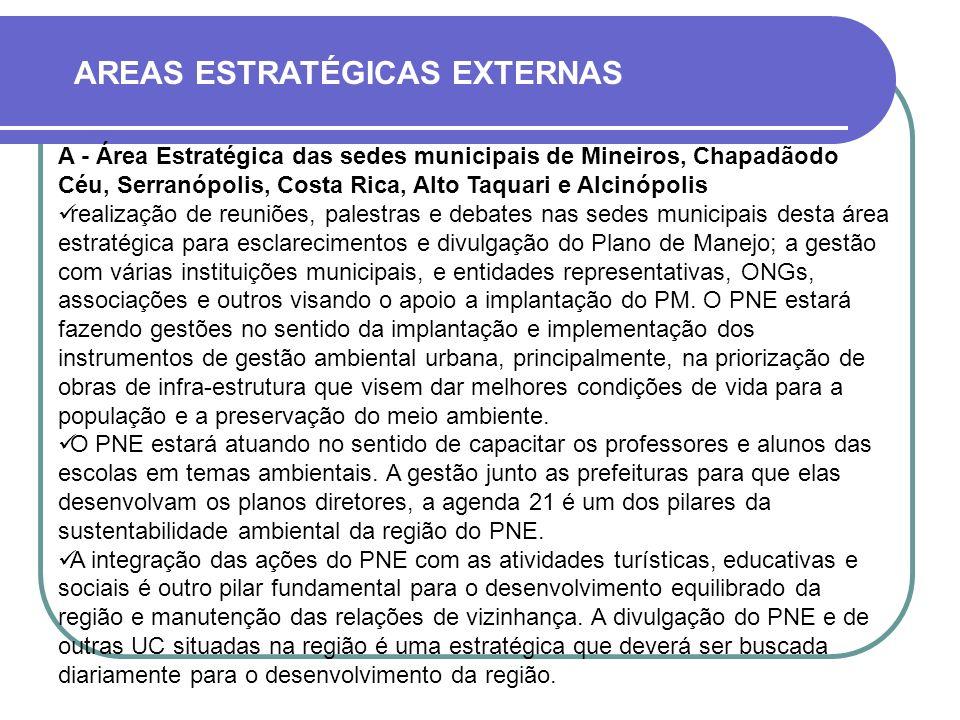 AREAS ESTRATÉGICAS EXTERNAS A - Área Estratégica das sedes municipais de Mineiros, Chapadãodo Céu, Serranópolis, Costa Rica, Alto Taquari e Alcinópoli