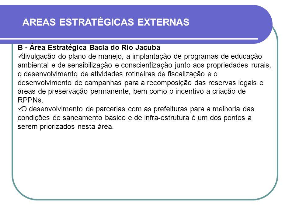 AREAS ESTRATÉGICAS EXTERNAS B - Área Estratégica Bacia do Rio Jacuba divulgação do plano de manejo, a implantação de programas de educação ambiental e de sensibilização e conscientização junto aos propriedades rurais, o desenvolvimento de atividades rotineiras de fiscalização e o desenvolvimento de campanhas para a recomposição das reservas legais e áreas de preservação permanente, bem como o incentivo a criação de RPPNs.
