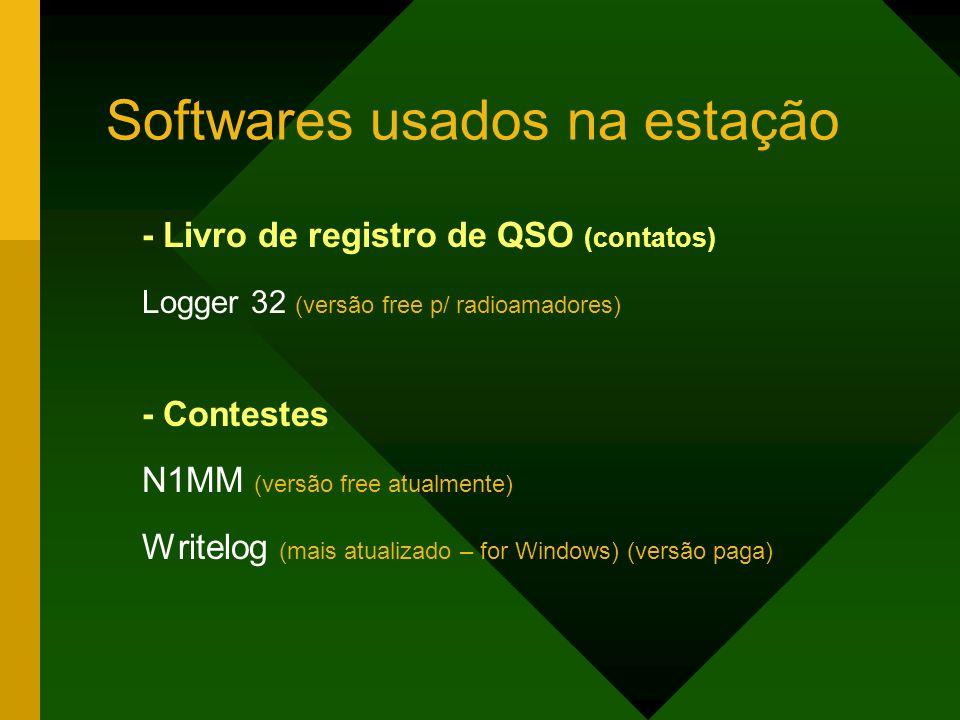 Softwares usados na estação - Livro de registro de QSO (contatos) Logger 32 (versão free p/ radioamadores) - Contestes N1MM (versão free atualmente) W