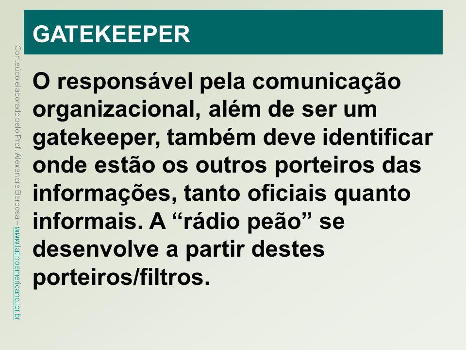 Conteúdo elaborado pelo Prof. Alexandre Barbosa – www.latinoamericano.jor.br www.latinoamericano.jor.br GATEKEEPER O responsável pela comunicação orga